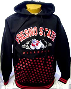 New! Black NCAA Fresno State Bulldogs Embroidered Pullover Hoodie Jacket by NCAA