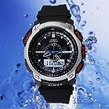 選べる 6 色 OHSEN 腕時計 デジアナ 表示 デジタル アナログ 多機能 ウォッチ LED ライト 防水 ストップウォッチ アラーム スポーツ アウトドア カジュアル メンズ レディース 腕 時計 【 BOX 時計 拭き付 】 (シルバー)