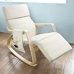 SoBuy FST19-W, White, New Relax Rocking Chair with Adjustable Footrest, Side Bag and New Seat Support