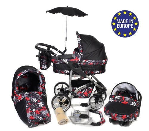 3-in-1 Travel System with Baby Pram, Car Seat, Pushchair & Accessories, Black & Small Flowers, Twing