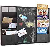 Modern Wall Mounted Brown Metal Memo Message Chalkboard / 10 Slot Document Organizer & Mail Sorter Rack