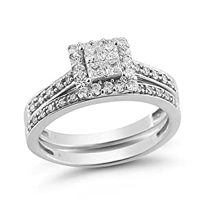 14k White Gold Princess-Cut Quad Diamond Bridal Ring Set (1/2 cttw H-I Color, I1-I2 Clarity), Size 8