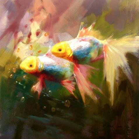 'Goldfish' Oil Painting, 8x8 Inch / 20x20 Cm ,printed On Perfect Effect Canvas ,this High Quality Art Decorative Prints On Canvas Is Perfectly Suitalbe For Living Room Decoration And Home Gallery Art And Gifts
