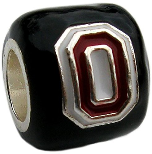 Ohio State Buckeyes Black Block O Bead Charm - Fits Pandora & Others