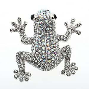 3.11 18K White GP Clear Black Eyes Rhinestone Frog Brooch Pin Swarovski Elements Crystal