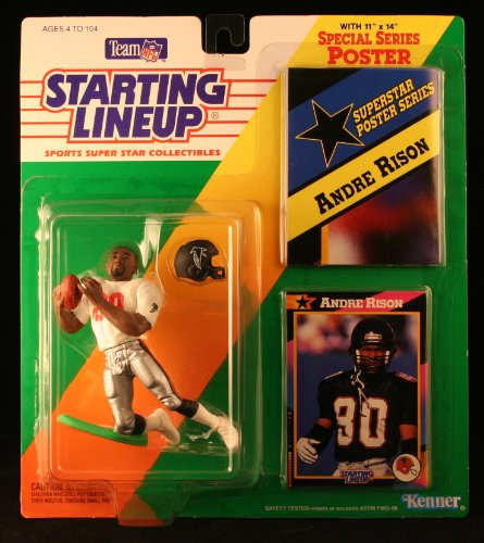 ANDRE RISON / ATLANTA FALCONS 1992 NFL Starting Lineup Action Figure & Exclusive NFL Collector Trading Card & Special Series Poster