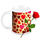 Love Gifts For Him - HomeSoGood Celebrate Valentine's Day Everyday White Ceramic Coffee Mug With Red Rose - 325 ml