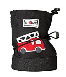 Stonz Three Season STAY-On Baby Booties, For Bare Feet or Shoes, For Mild or Cold Snow Weather, Fire Truck - Black Large