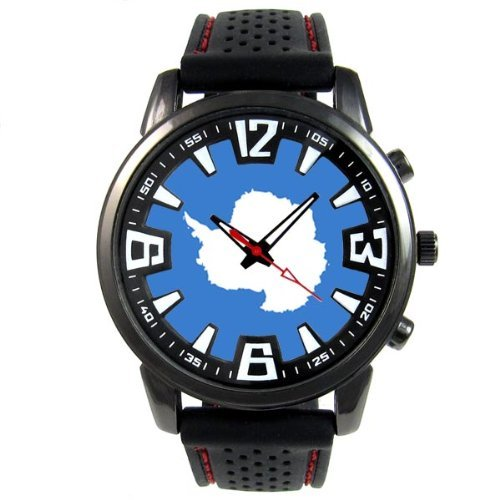 antarctica-continent-country-flag-mens-black-jelly-silicone-wrist-watch