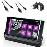 xubix USB Dock für Sony Xperia S LT26i Dockingstation / Tischladestation / Tischlader + 2x USB Datenkabel + USB Ladegerät Netzteil