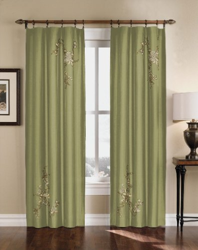 Floral Embroidered Faux Silk Window Curtain Drapery in Rich Colors