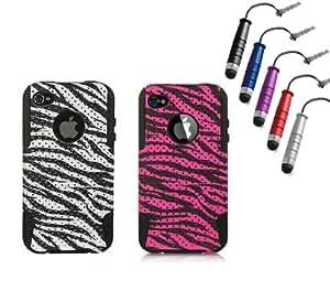 Jersey Bling 2 CASE ZEBRA COMBO!! Includes 1 Plain Zebra Iphone 4/4s Case & 1 PINK Fushia ZEBRA Iphone 4/4s Mesh Hybrid Defender Protector Case Cover for Iphone 4/4s & 1 Metallic Dust Plug Mini Stylus
