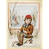 Christmas card depicting a boy in an ice rink (Print On Demand)