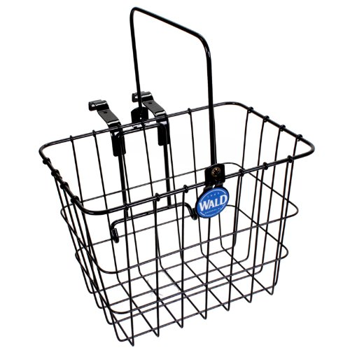 Wald 3114 Compact Front Quick Release Bicycle Basket With Bolt On Clamp (11.75 X 8 X 9, Black) front-894056