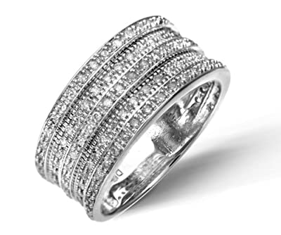 Ariel 9ct White Gold 0.50ct Multi Row Diamond Half Eternity Ring