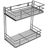 Klaxon Double Shelf Front Kitchen Spice Rack / Basket 4 Inch Stainless Steel