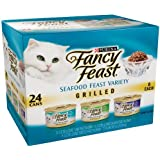 Fancy Feast Gourmet Cat Food, Grilled Seafood Variety Pack New Super Size Package, 72 Count Seafood-Variety
