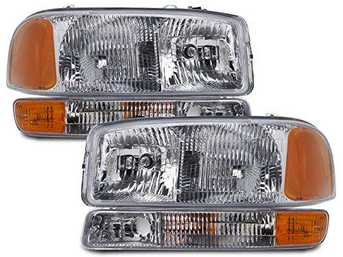 GMC Yukon/Sierra 4-Piece Headlights Set w/Park Signal Lights (Headlight Assembly Gmc Yukon compare prices)