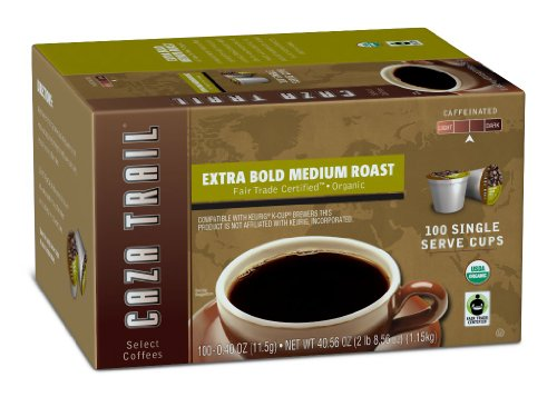 Caza Trail Coffee, Organic Extra Bold Medium Roast, 100 Single Serve Cups (K Cup Coffee Medium Roast compare prices)