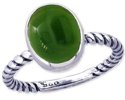 Twisted Sterling Silver Stackable Ring with Large Oval Cabochon Genuine Gemstone-Jade-in full,half,quarter sizes from 3.5 to 12_7.75