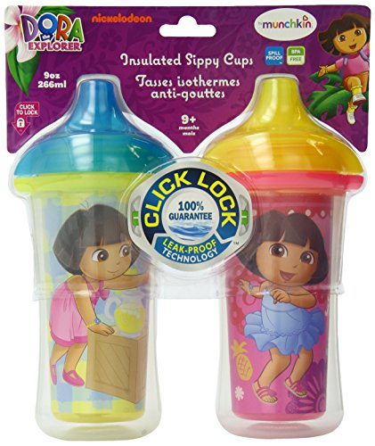 Munchkin Dora the Explorer Click Lock Insulated Sippy Cup, 9 Ounce, 2-Count - 1