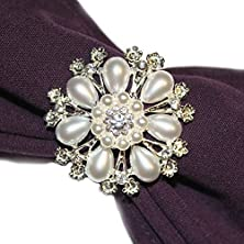 buy Jlika Napkin Rings 6-Piece Rhinestone And Pearl For Entertaining Dinner Party Table Settings Wedding Gifts