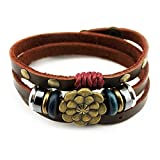 Bluegrass Multilayer Leather Personality Hematite Lucky Lotus Flower Snap Button Wrap Bracelet