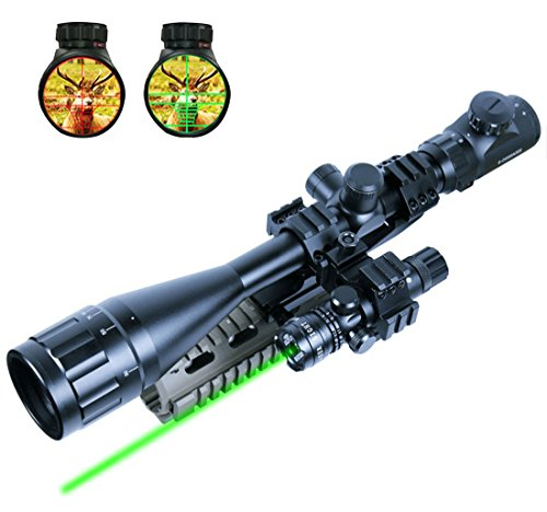 Lukher 2 In 1 6-24x50 Hunting Rifle Scope Mil-dot Illuminated Snipe Scope & Tactical Green Laser Sight (Ithaca Model 37 Accessories compare prices)