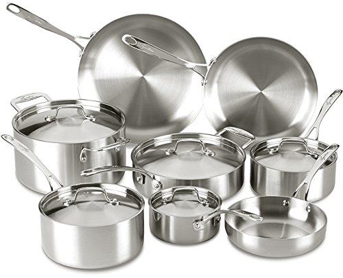 Lagostina Q555SD Axia Tri-Ply Stainless Steel Dishwasher Safe Oven Safe 13-Piece Silver Cookware Set