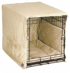 Pet Dreams Plush Pet Dog Crate Cover Bumper Sleeper Bed - Medium / Ivory