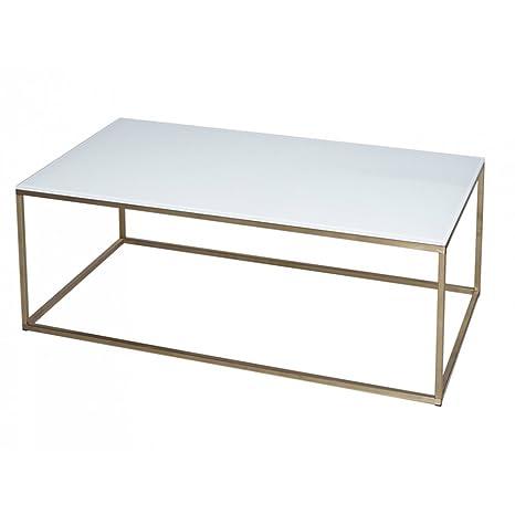 Gillmore Space Oro e vetro bianco contemporanea Tavolino rettangolare in metallo