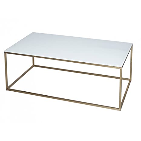Gillmore Space Cristal blanco y oro Metal contemporáneo mesa de centro Rectangular