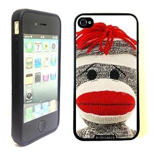 Sock Monkey Face - Protective Designer BLACK Case - Fits Apple iPhone 4 / 4S / 4G