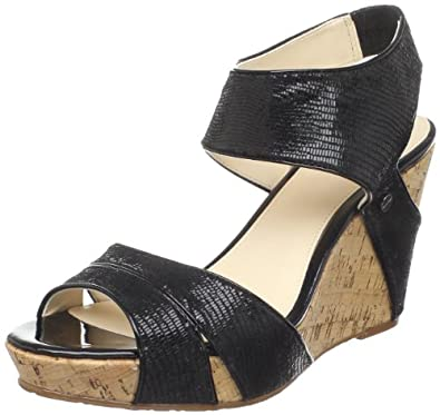 Calvin Klein Women's Jennifer Pearlized Reptile Wedge Sandal,Black,6 M US