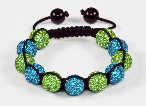 Atlantis Shamballa Bracelet | Unisex Blue and Green Crystal Pave Argil Disco Beads (by BAGATI CRYSTO)