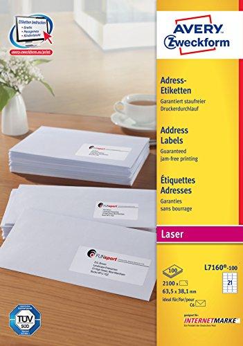 Avery Zweckform L7160-100 Etiquettes adresse pour enveloppes C6 63,5 x 38,1 mm 100 feuilles (Import Allemagne)
