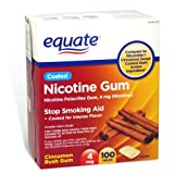 Equate - Nicotine Gum 4 mg, Coated, Cinnamon Rush Flavor, 100 Pieces