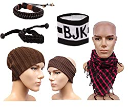 Sushito Stylish Brown Woolen Cap With Headwrap With Stylish Headwrap & Wrist Band