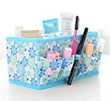 Domire Newest Blue Makeup Cosmetic Storage Box Bag Bright Organiser Foldable Makeup Stationary Container