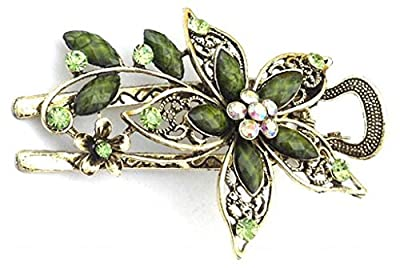 Vwhite Womens Flower Crystal Hair Clips Barrettes Hair Accessories