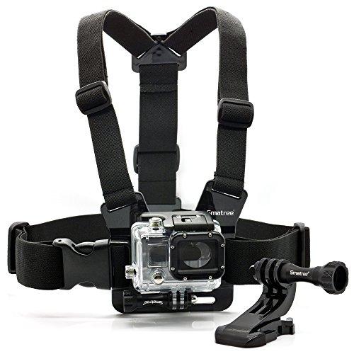 Smatree Adjustable Anti-Skid Chest Belt Strap Harness Mount+ J-Hook Buckle Mount + Smatree Aluminum Thumbscrew with Nut for Gopro HD Hero4,3,2,1 and SJ4000, SJ5000 Cameras