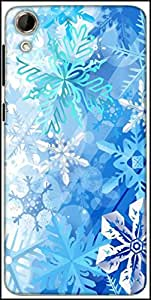 Snoogg Snowflakes Pattern 2534 Designer Protective Back Case Cover For HTC Desire 728