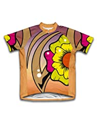 Rainbow Flower Short Sleeve Cycling Jersey for Women