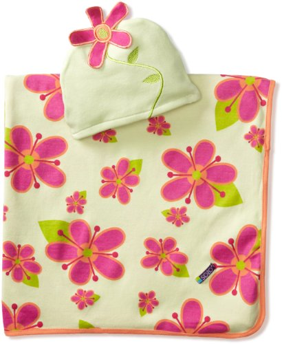 Sozo Baby-girls Newborn Posies Swaddle Blanket and Cap Set, Green/Pink, One Size
