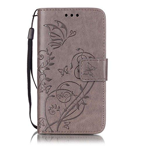 Leather Case Cover Custodia per Samsung Galaxy A3 (2015) ,Ecoway Caso / copertura / telefono / involucro del modello PU con a Bookstyle tasche carte di credito funzione con interno morbido in TPU Portafoglio Supporto Slot Schede Protettiva Bumper Caso - Grigio farfalla Stampa