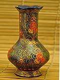 The India Craft House Papier Mache Decorative Vase - Blue Floral (H-7