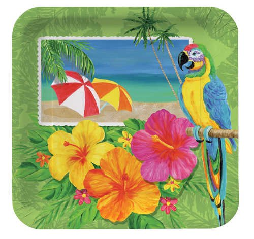 Tropical Vacation Dinner Plate, Sq, Wide (12pks Case)