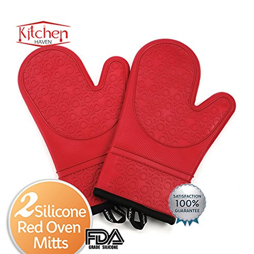 Silicone Oven Mitts - Great Safety Protection For Indoor Kitchen & Outdoor Cooking - Heat Resistant Gloves Or Potholders & Sports Fan Grill Accessories - Quilted Linen Liner Helps You Easily Handle Hot Objects With Super Grip - Perfect Wedding Registry Gi