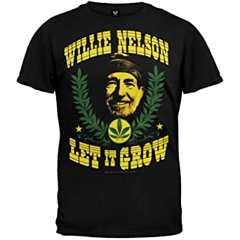 Willie Nelson - Mens Let It Grow T-shirt Small Black
