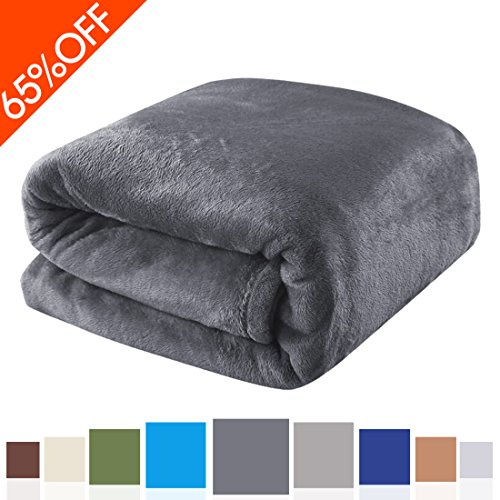 Balichun Luxury Polar Fleece Blanket Super Soft Warm Fuzzy Lightweight Bed Blankets Couch Blanket Twin/Queen/King Size(Queen,Dark Grey)